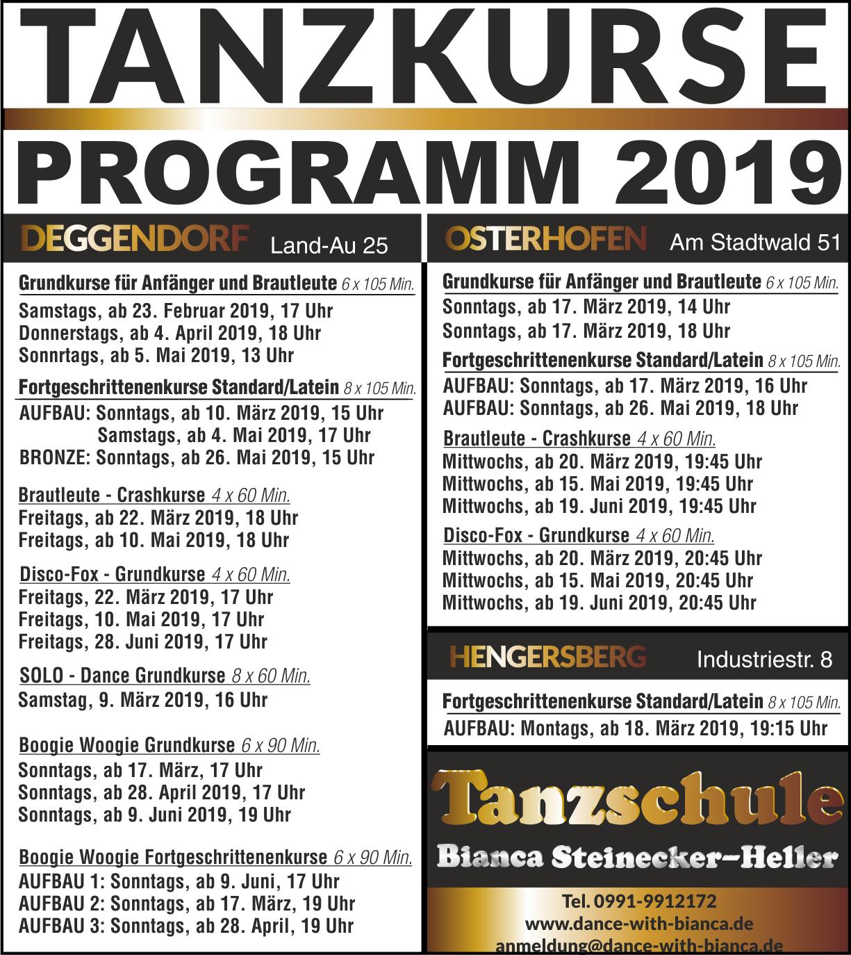 Unser Kursprogramm Tanz 2019